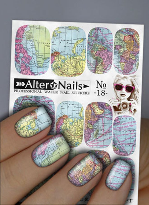 No 18 world map nail water wraps art stickers decals like this item gumiabroncs Images