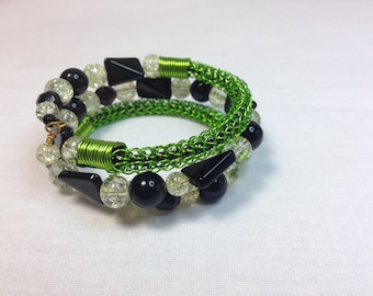 Black and Lime Green Viking Knit Bracelet, Wrap Bracelet, Wraps around Wrist 3 Times, Fits all Wrist Sizes, Previously 32 Dollars ON SALE