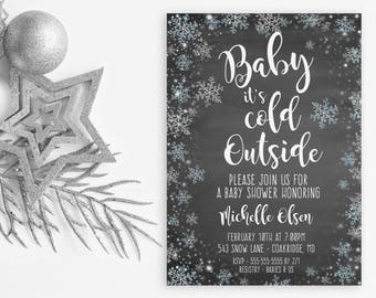 Baby It's Cold Outside Baby Shower Invitation, Baby Shower, Winter Baby Shower Invitation, Snowflake Baby Shower Invitations, Baby [690]