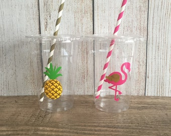 Tropical Party Cups - Flamingo Birthday - Gold Chrome - Disposable Cups w/Lids+Straws - 16oz.- Pineapple Party - Choose Quantity, 24-50 cups