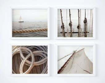 One Free! - Nautical neutrals print set - Photography art prints - Wall decor - Matching art - New England prints - Sailing art - Large art