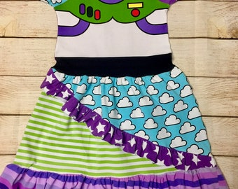 Space Ranger Raglan Ruffle Dress