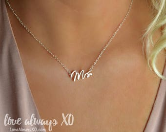 Mrs Necklace, engagement gift, bride gift, mrs jewelry, rose gold mrs necklace, silver mrs necklace, gold mrs necklace