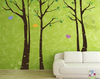 Birch Forest Wall Mural - Tree Grove Wall decals with FREE Birds Wall Stickers - TRBR020R