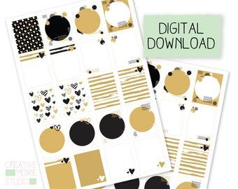Black and Gold Printable Planner Stickers, life planner, planner stickers, summer stickers, wedding planner stickers, Erin Condren, daily