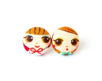 Small stud earrings - tiny fabric earrings - button earrings girl - cute gift for sister girlfriend daughter - red orange brown kawaii happy