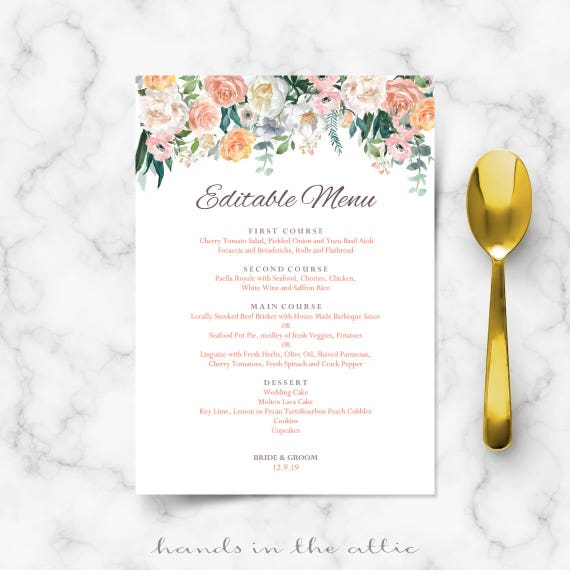 wedding menu cards templates for free - wedding buffet menu cards floral diy template wedding dinner