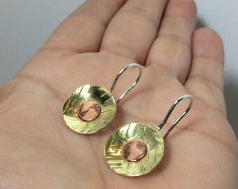 Boho Earrings ~ Boho Copper Earrings ~ Copper Brass and Sterling Silver Earrings ~ Handmade Earrings ~ Domed Earrings