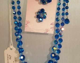 Sherman Crystal Necklace matching clip on Earrings