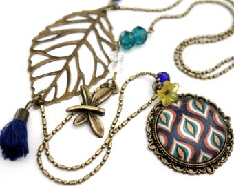"""Necklace cabochon """"graphic alveoli blue red and yellow""""-retro vintage glass brass bronze"""