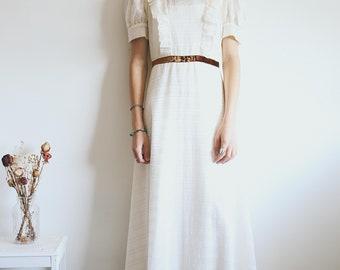Vintage Boho Cream Maxi Dress, 70s Dress, Full Length Dress, Detailed Pattern, Retro, Boho Dress, Bohemian Clothing, Hippie
