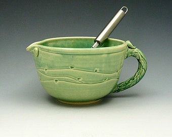 Mint Green Large Batter Bowl- 6 cup  Mixing Cup with Wire Whip and Handle - Wheel Thrown Stoneware
