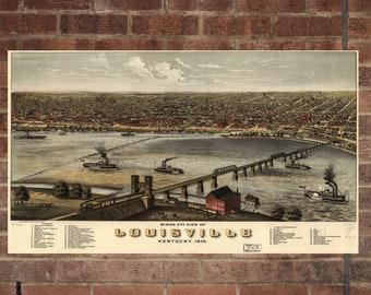 Vintage Louisville Photo, Louisville Map, Aerial Louisville Photo, Old Louisville Map, Louisville Art Rend, Louisville Poster, KY Art