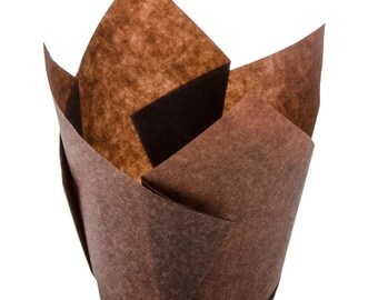 """100 Brown 2"""" Tulip Cupcake Liner Standard Size Muffin Baking Cups Lot"""