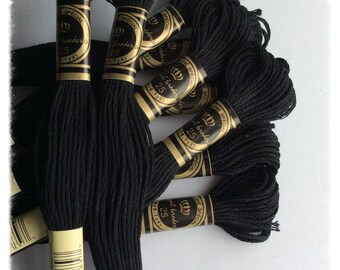 10 skeins of Mercerized cotton in black color