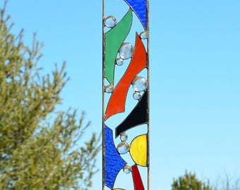 Stained Glass Garden Sculpture, Abstract Glass Yard Art by Windsong Glass Studio - 'Ricochet'