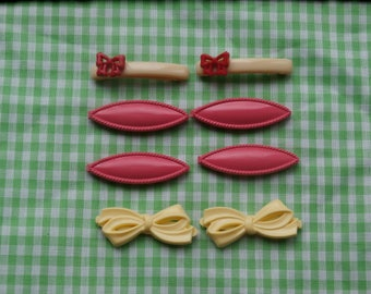 8 Small Vintage Hair Barrettes Yellow Bows Pink Ovals and Off White with Red Bows all plastic cuteness