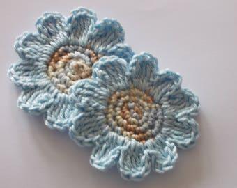 2 large crochet flowers-6.5 cm
