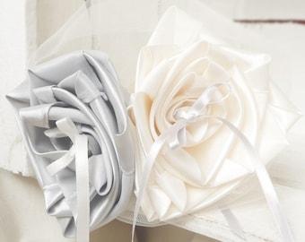 Ring bearer wedding ivory silver grey flower original