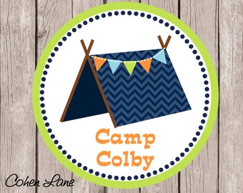 Printable Personalized Chevron Camping iron on Tshirt Transfer Design.  Camp out Iron On Transfer. Birthday iron on. Tent iron on.