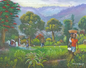 Haitian Painting/Handmade/Art/Nature/Bright/Environment/Canvas/Acrylic