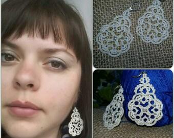 tatting jewelry Chandelier Earrings  gift for her  lace jewelry  bridesmaid earrings  Lightweight earrings