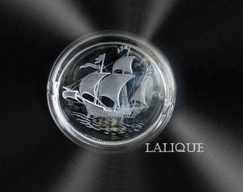 Lalique art glass ash tray with sailing ship decoration
