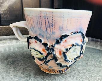 Floral cake mug