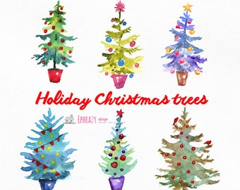 Christmas clipart. Christmas Trees Clipart. Watercolor Christmas Trees. Forest Clip Art. Holiday Clipart. Christmas Tree clipart.