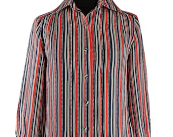1970's Christian Dior Silk Blouse / Vintage Parisian Style / Red White and Blue Stripes / Timeless Elegance