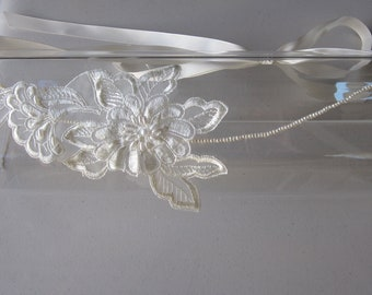Ivory Lace Pearl Flower Halo Headband with Ivory Satin Ribbon Ties, for Bridal, weddings, parties, special occasions