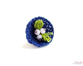 Blue, statement, flower inspired ring, crochet jewelry