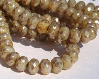 8 x 6mm Beige Champagne Rondelles Czech glass Beads 10 pieces BOHO Supplies