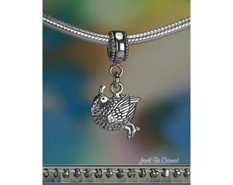 Sterling Silver Quail Charm or European Style Charm Bracelet .925