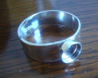 Ring Blank with Bezel -  - eco friendly 925 sterling silver handmade to order - band and bezels 3mm 4mm