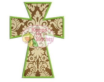 Modern Cross Applique Embroidery Design in satin and Zig Zag 3 sizes