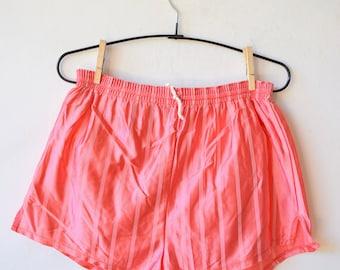 Pink retro running shorts, striped workout shorts, jogging vintage shorts, retro sport shorts, beach shorts, S/M