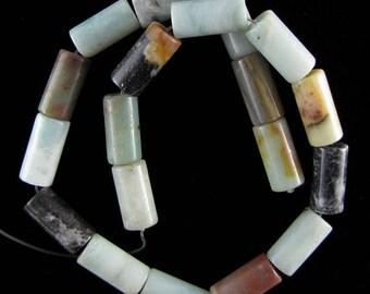 "10x20mm amazonite pyrite cylinder beads 16"" strand S1 17601"