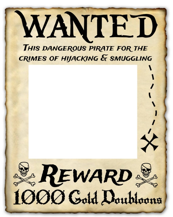 wanted pirate printable sign 16 x 20 photo prop