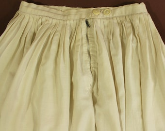 REDUCED PRICE! Antique pleated full skirt, 1930s or 1940s, cream cotton