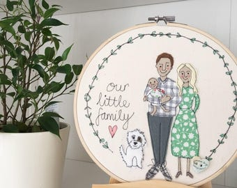 Personalised Family Portrait, Family Gift, Embroidery, Hoop Art, Textile Portrait, Illustration, Family Illustration