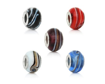 5 Lampwork Glass European Bracelet Bead Round Silver Plated Core White & Gold Swirl Pattern Necklace Craft Supply Jewelry