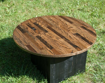 Oak Floorboard Round Coffee Table