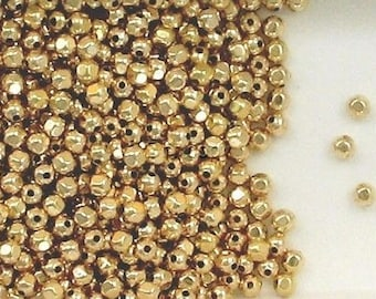 12K Gold Filled 3mm Faceted Round Accent Spacer Beads Choice of Quantity-Price