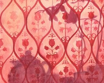 Orchid Tea - 14x14 Original Watercolor -red shadows