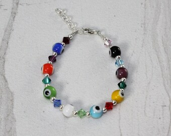 Child's Sterling Silver Evil Eye Bracelet