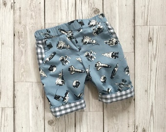Space Print Trousers - Patterned Boys Trousers - Boys First Birthday Outfit - Newborn Boy Outfit - Boys Casual Trousers - Blue Baby Trousers