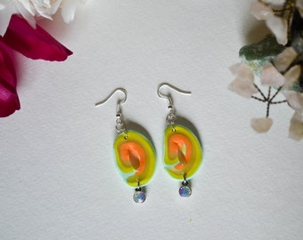 Shades of Neon Polymer Clay Geode Earrings with Iridescent Gems
