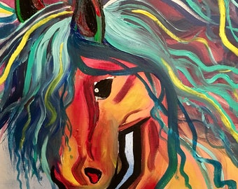 "SALE! - Original Acrylic Painting Horse Canvas Art, Bright Abstract, Mustang, 12"" by 12"""