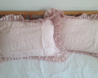 Custom made Pair Shabby chic pink Pre washed 100% Natural Linen Ruffle pillow case cover shams